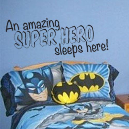 A Super Hero Sleeps Here Vinyl Wall Decal For By DazzlingDecals - Wall decals kids roombestkids room wall decals ideas on pinterest batman room