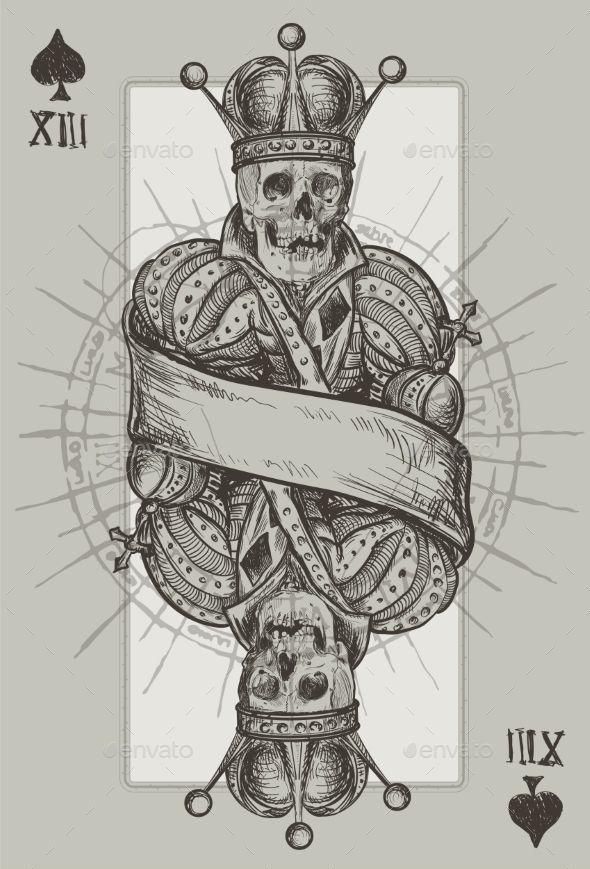 Skeleton king vector eps cs2 cross crown death for Skeleton king tattoo