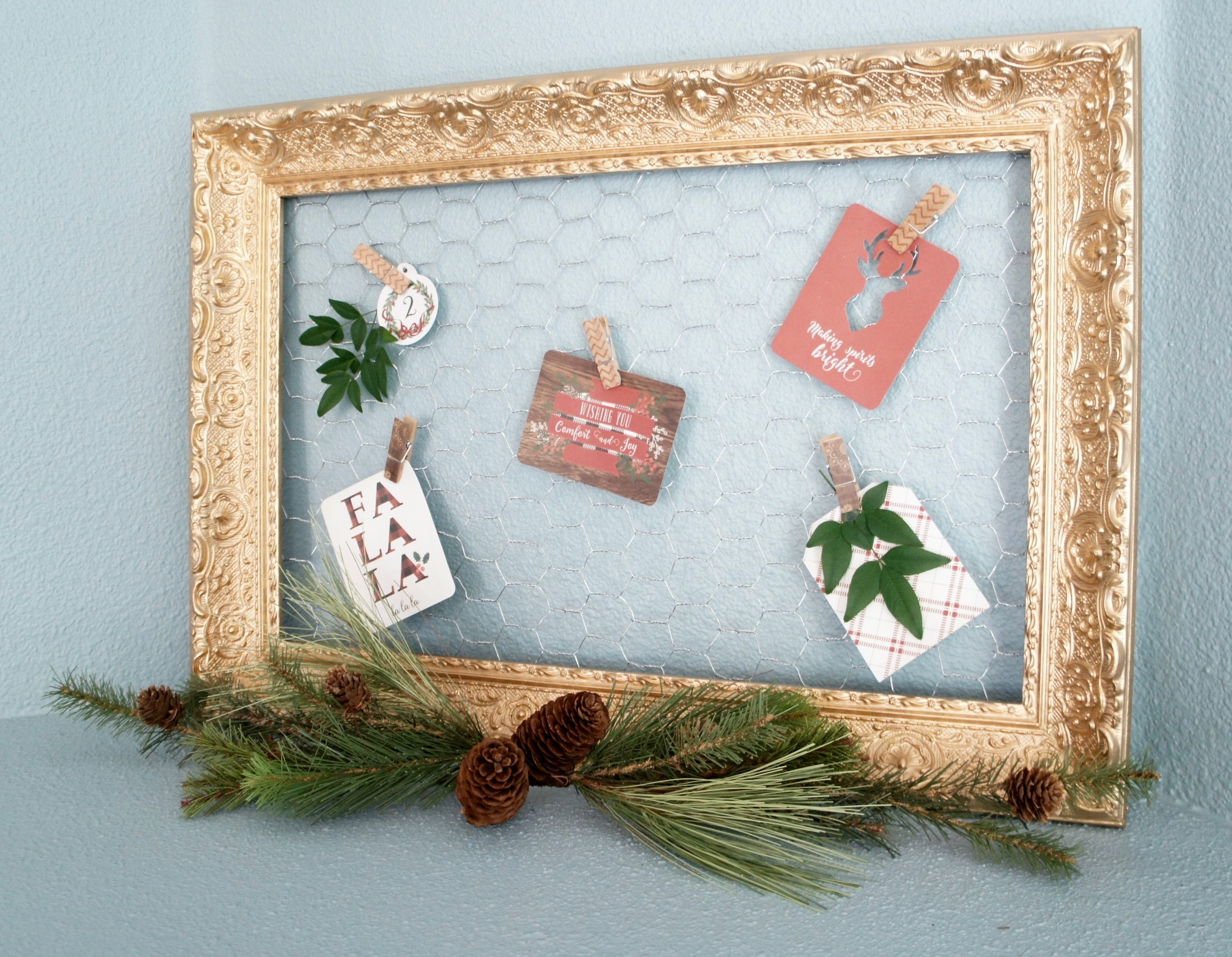Gold Metallic Vintage Floral Frame with Chicken Wire: holiday card ...
