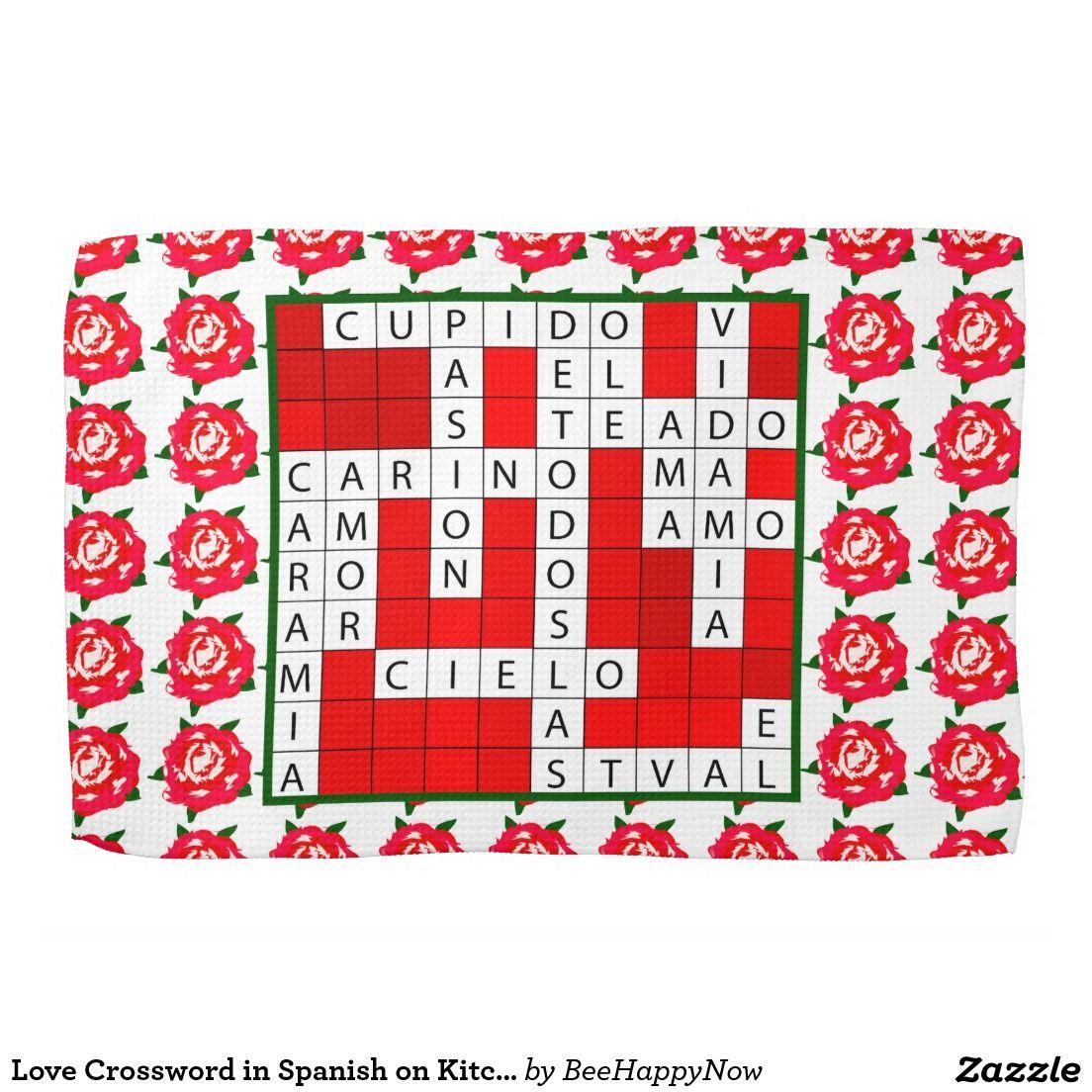 Love Crossword in Spanish on Kitchen Towel | kitchen towels ...
