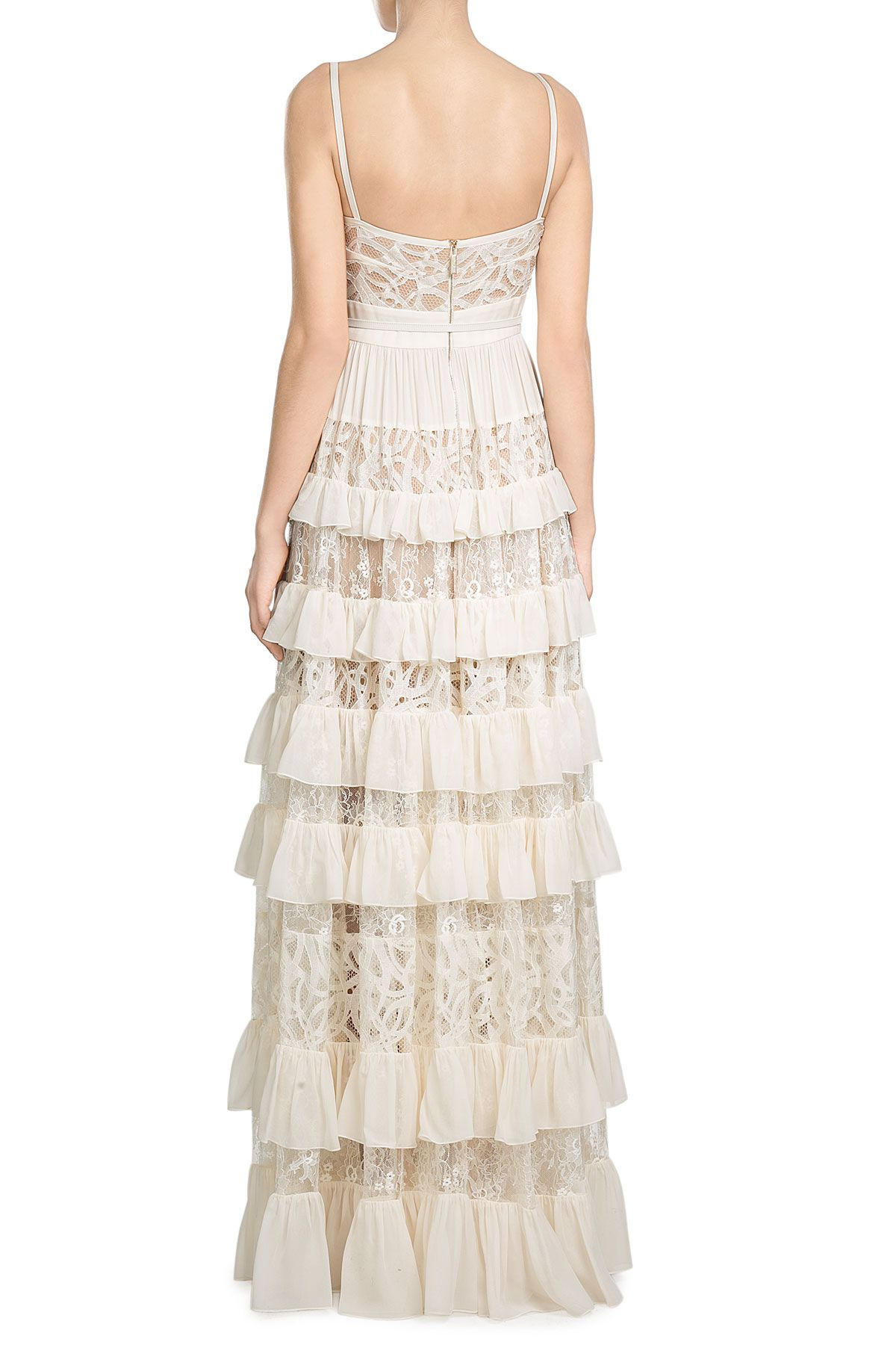 Silk-Blend Tiered Lace Gown  from ELIE SAAB | Luxury fashion online | STYLEBOP.com