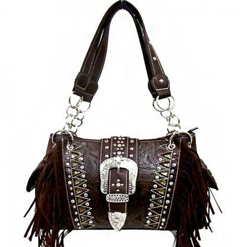 Concealed Carry Western Buckle Fringe Handbag