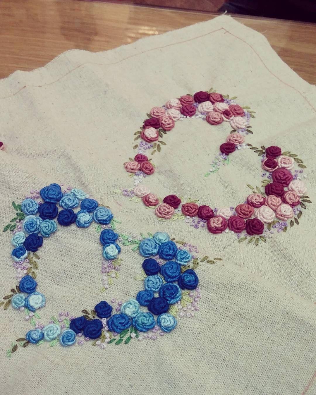 Bullion rose stitch embroidery ideas patterns ╭ԑ̮̑