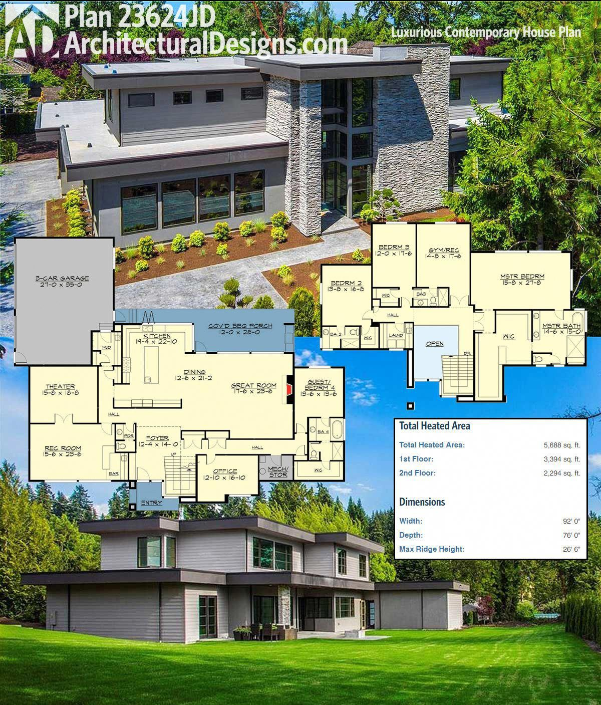 Architectural Designs Luxury Contemporary House Plan 23624jd Gives You 4 To 5 Beds And Over 5 600 Squar Contemporary House Plans House Plans Contemporary House