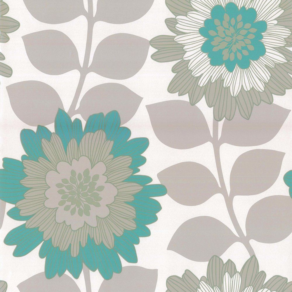 Oriental Bold Floral Wallpaper Metallic Teal / Beige