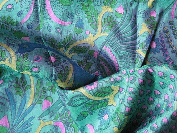 4f440ea0498f0f Beautiful Thai Silk Fabric Jade Green Fabric Magenta Pink Blue Peacocks  Flower