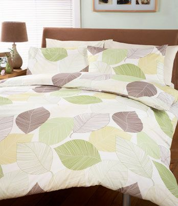 Pure Printed Duvet Set Green This Beautiful Printed Design Features An All Over Leaf Design In A Range Of Bed Quilt Cover Duvet Cover Sets Green Duvet Covers