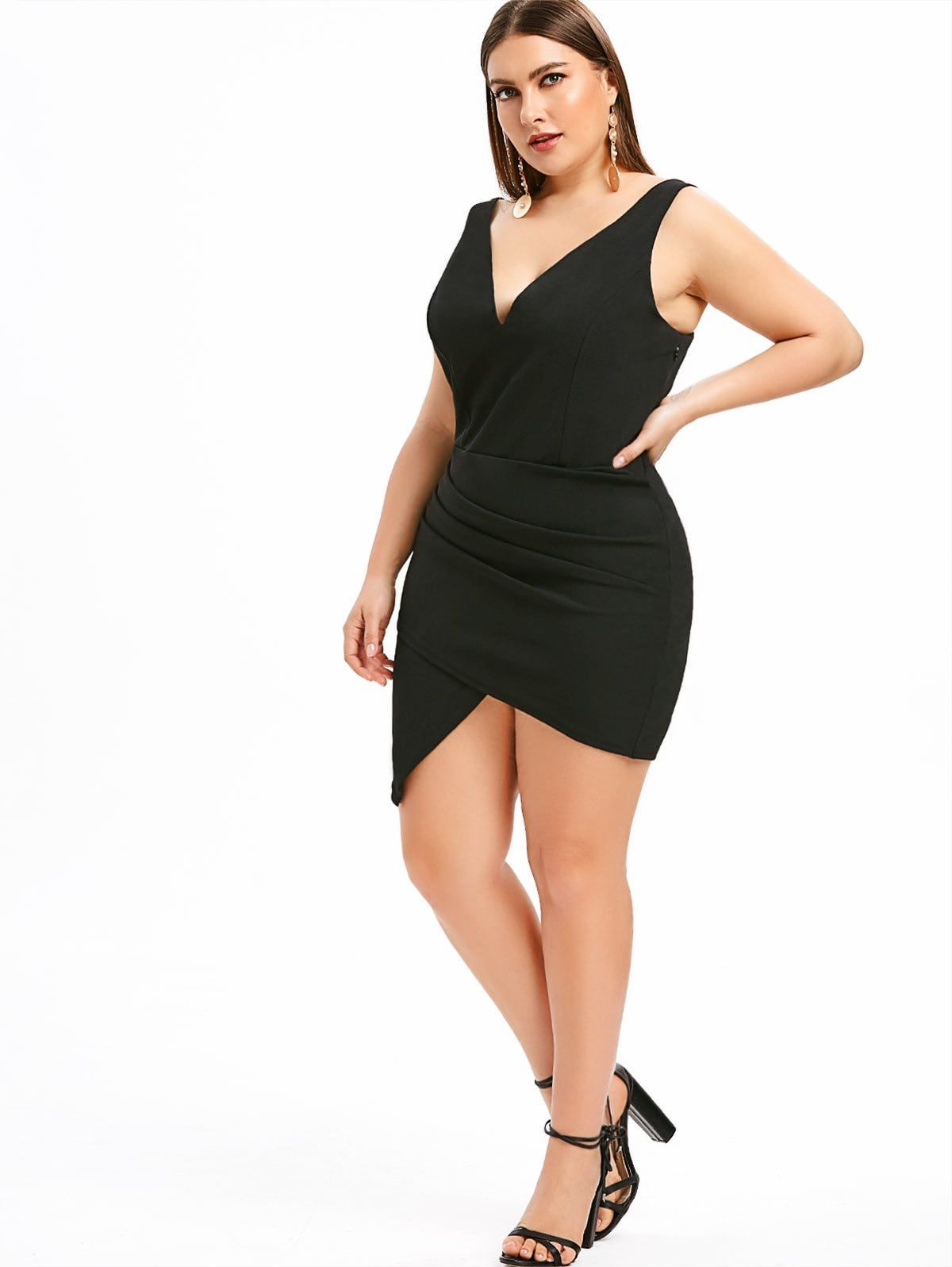Plus Size Low Cut Ruched Bodycon Dress | Fit Fashion in 2019 ...
