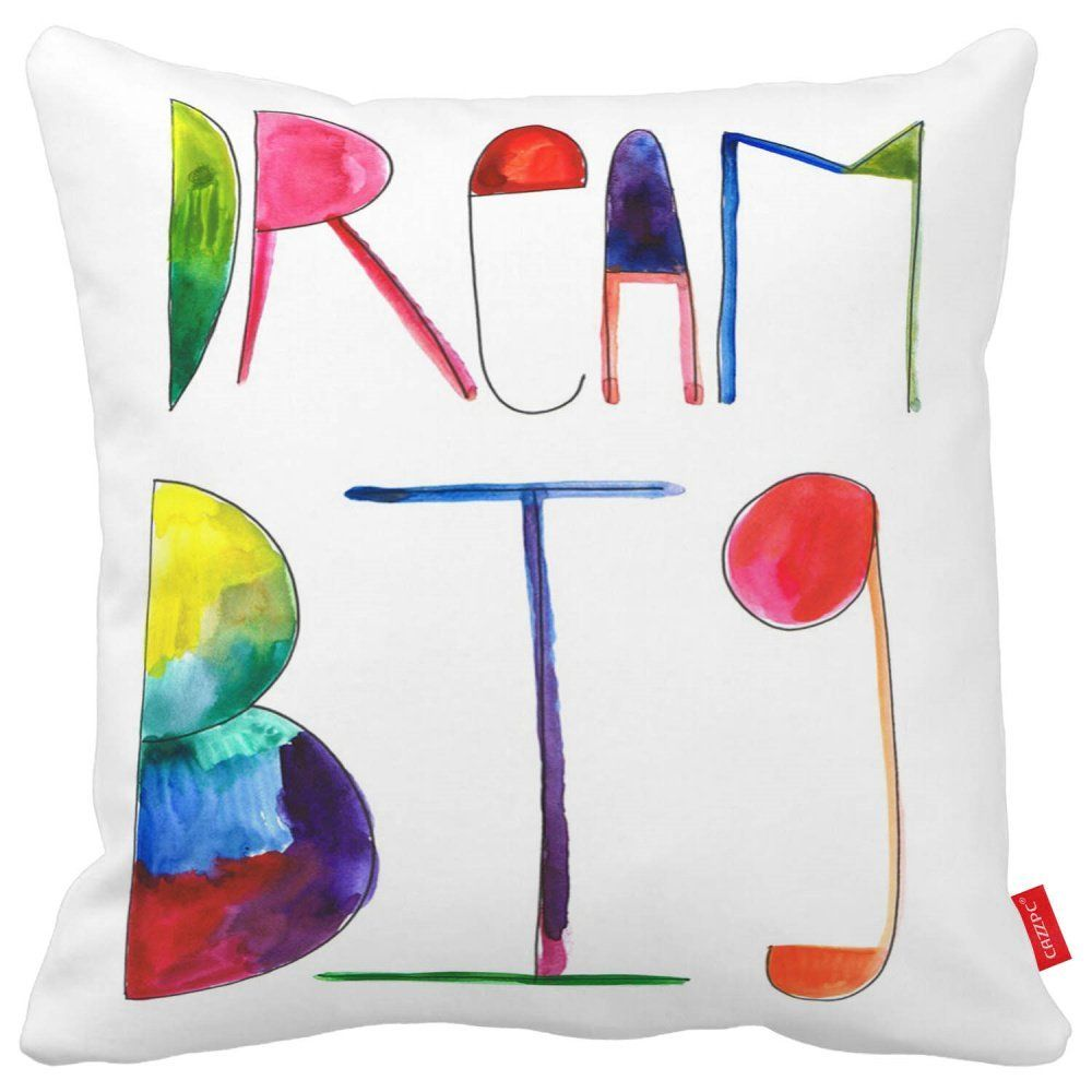 Cazzpc cushion cover watercolor doodle quote dream big letter word