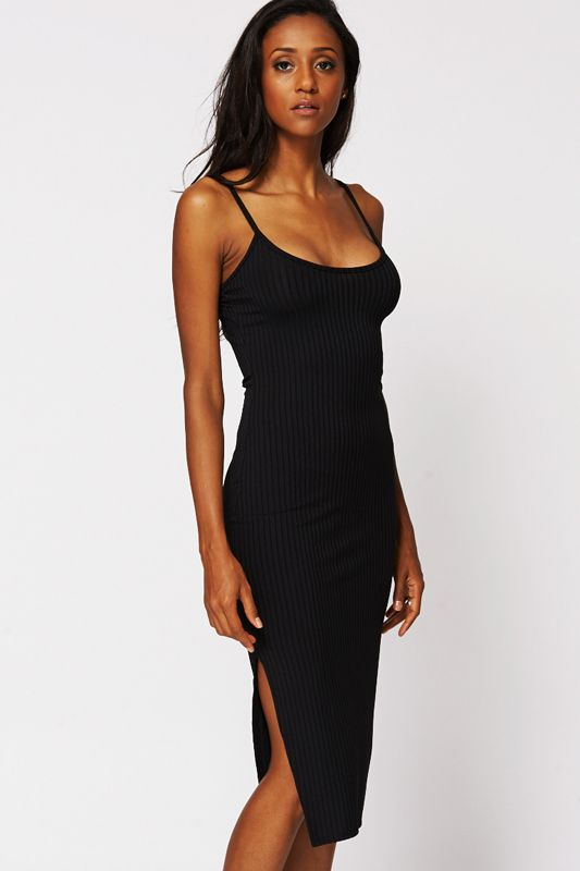 8f7777c8535f5 Black Strappy Ribbed Bodycon Midi Dress with Side Slit £21.48 | hair ...