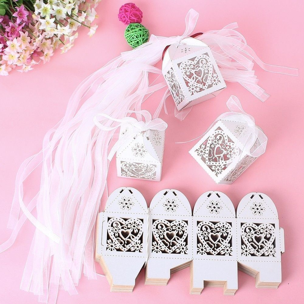 100PCS Love Heart Laser Cut Candy Gift Boxes With Ribbon Wedding ...
