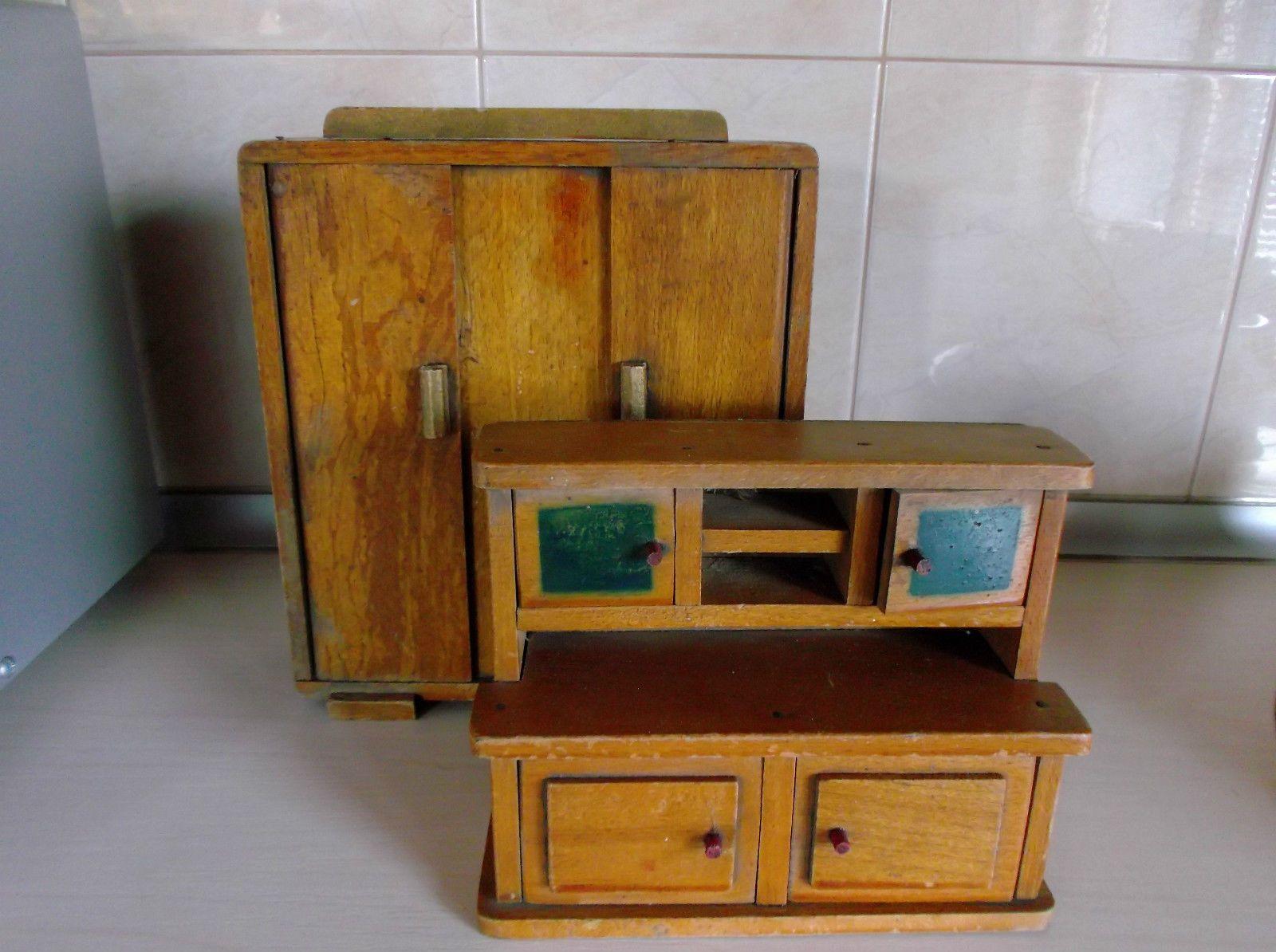 Wonderful Vintage Old Wooden Dolls House Furniture | EBay