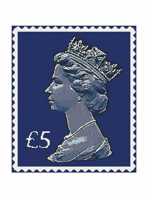 Queen Postage Stamp Chart for Needlepoint Cushion or door AdLeones, $11.00