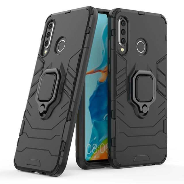 Armor Finger Ring Case For Huawei P30 Lite Leather