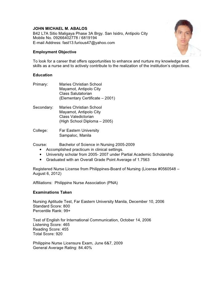 resume sample for nurses fresh graduate