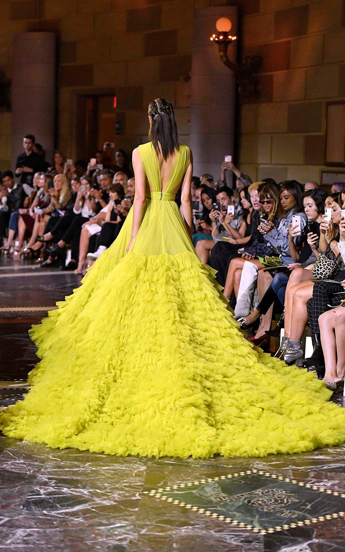 Tiered Tulle Gown By Christian Siriano Ss19 Fashion Show Dresses Yellow Prom Dress Long High Fashion Outfits