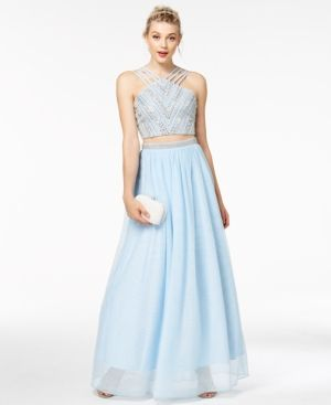 457fb98731e Say Yes to the Prom Juniors  2-Pc. Embellished Crop Top   Skirt