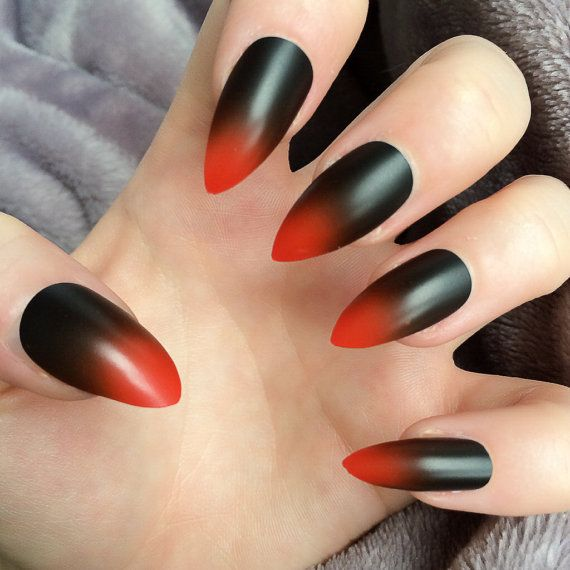 Nails Art Black And Red Stilettos: Doobys Ombre Hot Red & Black Ombre 24 Hand Painted By