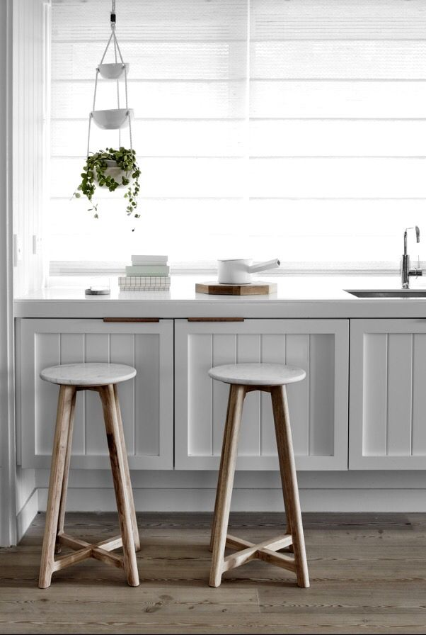 Marble & timber stools