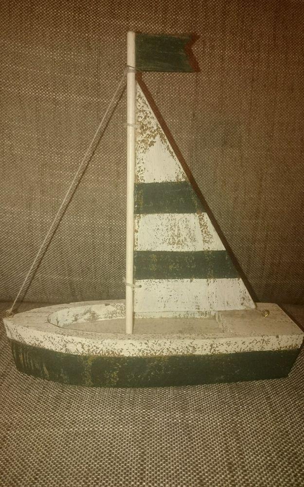 Seaside Nautical Wooden Shabby Chic Boat Bathroom Ornament Rustic