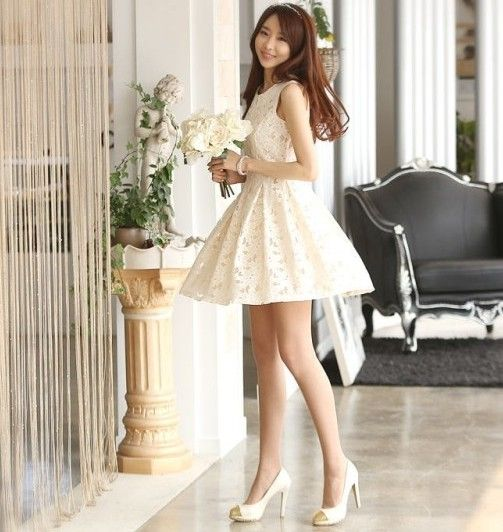 2013 summer new fashion women girl's bandage vintage lolita elegant club party white lace knee length organza cute kawaii dress $26.89