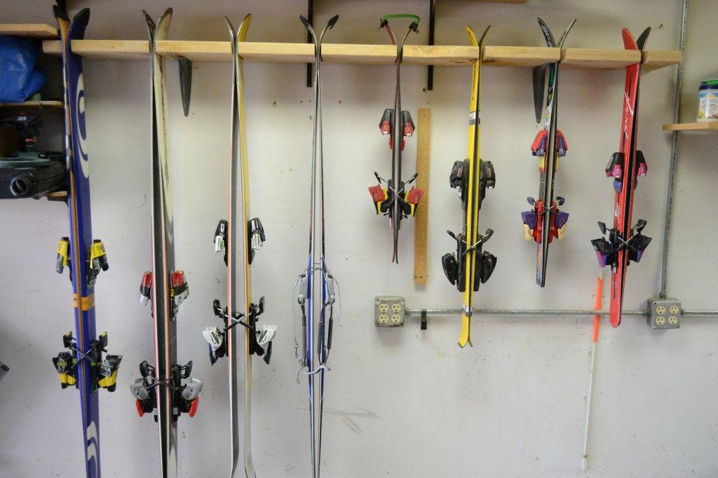 Make your own garage ski rack for cheap! Brilliant! | DIY outdoors Ski Rack For Garage on hooks for garage, ski rack plans, ski roof rack, ski boot storage, fishing racks for garage, ski wall rack, board racks for garage, hardware for garage, ski wine rack, ski hangers wall mount, ski and snowboard storage, ski coat rack, bike for garage, ski rack in mudroom, ski display, diy surfboard racks for garage, winches for garage, drawers for garage, storage benches for garage, ski rack ideas,
