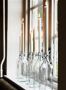 ljus jul med naturlig charm. bottles from Ikea.