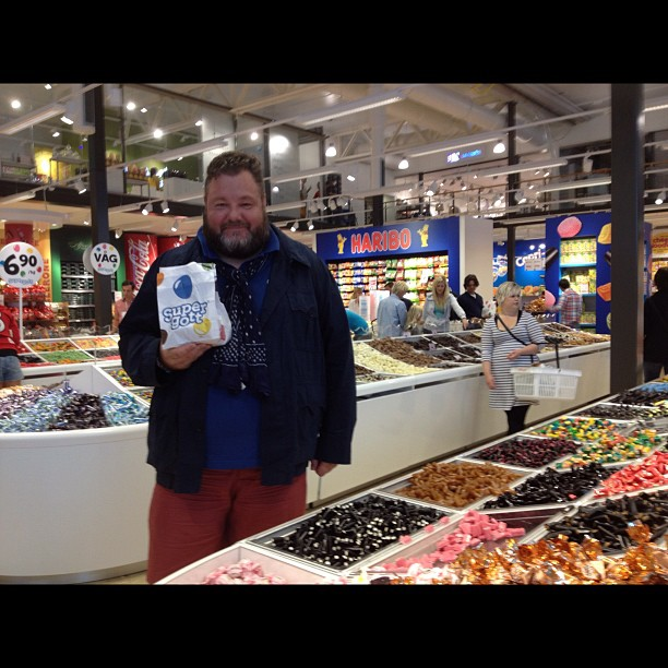 I'm in a HUGE candy store just over the  Norway border in Strömstad, #Sweden!