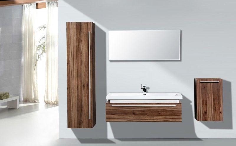Badmöbel Set N1200 Walnuss Invers   Spiegel Und Seitenschränke Optional  Badewelt Badmöbel Badmöbel Set Holzoptik