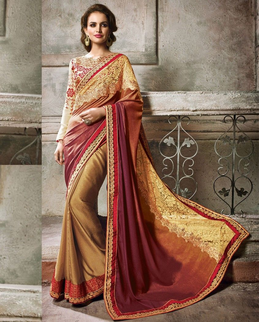 Maroon and cream wedding decor  Brown and maroon shaded sari with embellished border  Brown and