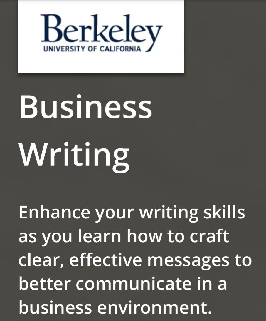 Business Writing Certificate Program University Of California At