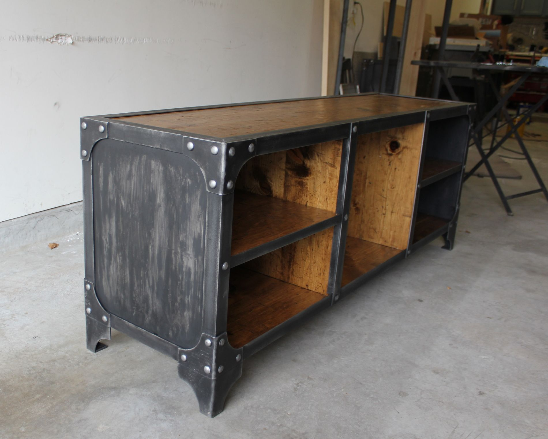 distressed industrial furniture. steel side panels on this industrial style media console solid distressed wood furniture pinterest