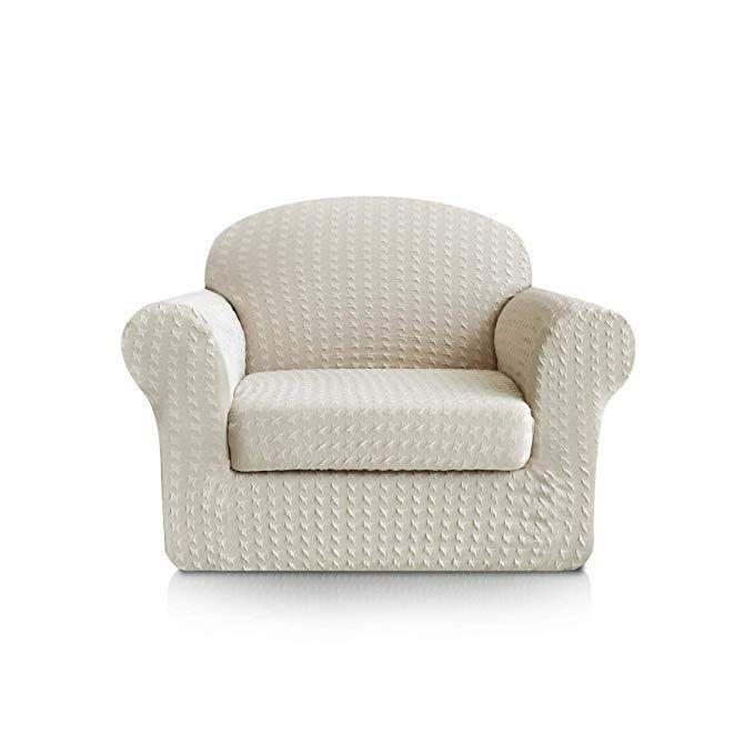 3a9e9d3020 Subrtex 2-Piece Print Jacquard Spandex Fabric Stretch Sofa Slipcovers (Chair,  Cream) Review