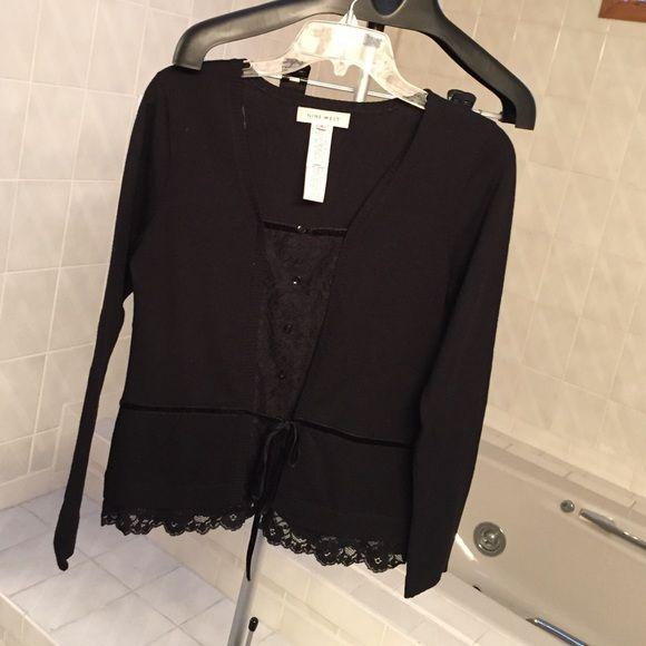 Elegant black dressy sweater with lace | Dressy sweaters, Ruffles ...