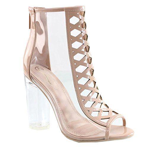 4bba389e496666 Women s Open Toe Block Chunky Clear Perspex Heel Ankle Boot Bootie Shoe