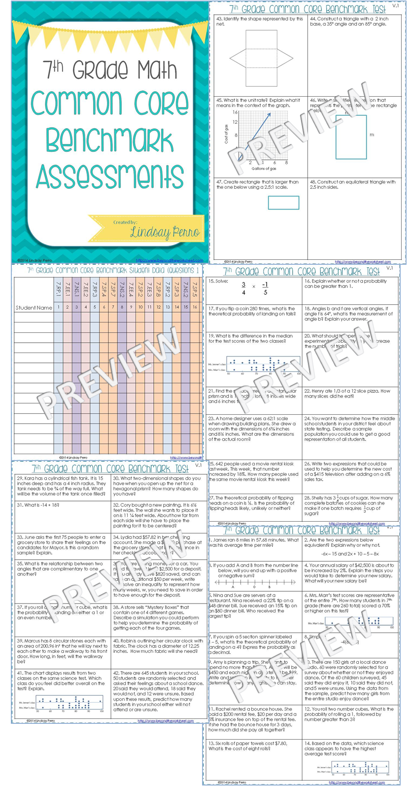 7th Grade Math Common Core Benchmark Exam - Two versions of the same test  are included, each with 48 questions. The questions on each version are  nearly ...