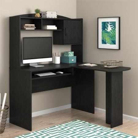 L Shaped Desk With Hutch, Multiple Finishes, Corner Desk, Slide Out Keyboard  Tray Available, 2 Cubbies, Closed Storage Space,Wooden Office Desk Bundle  With ...