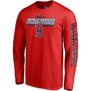 12206a58 Men's Majestic Boston Red Sox 2018 World Series Champions Structure Long  Sleeve T-Shirt (Red)