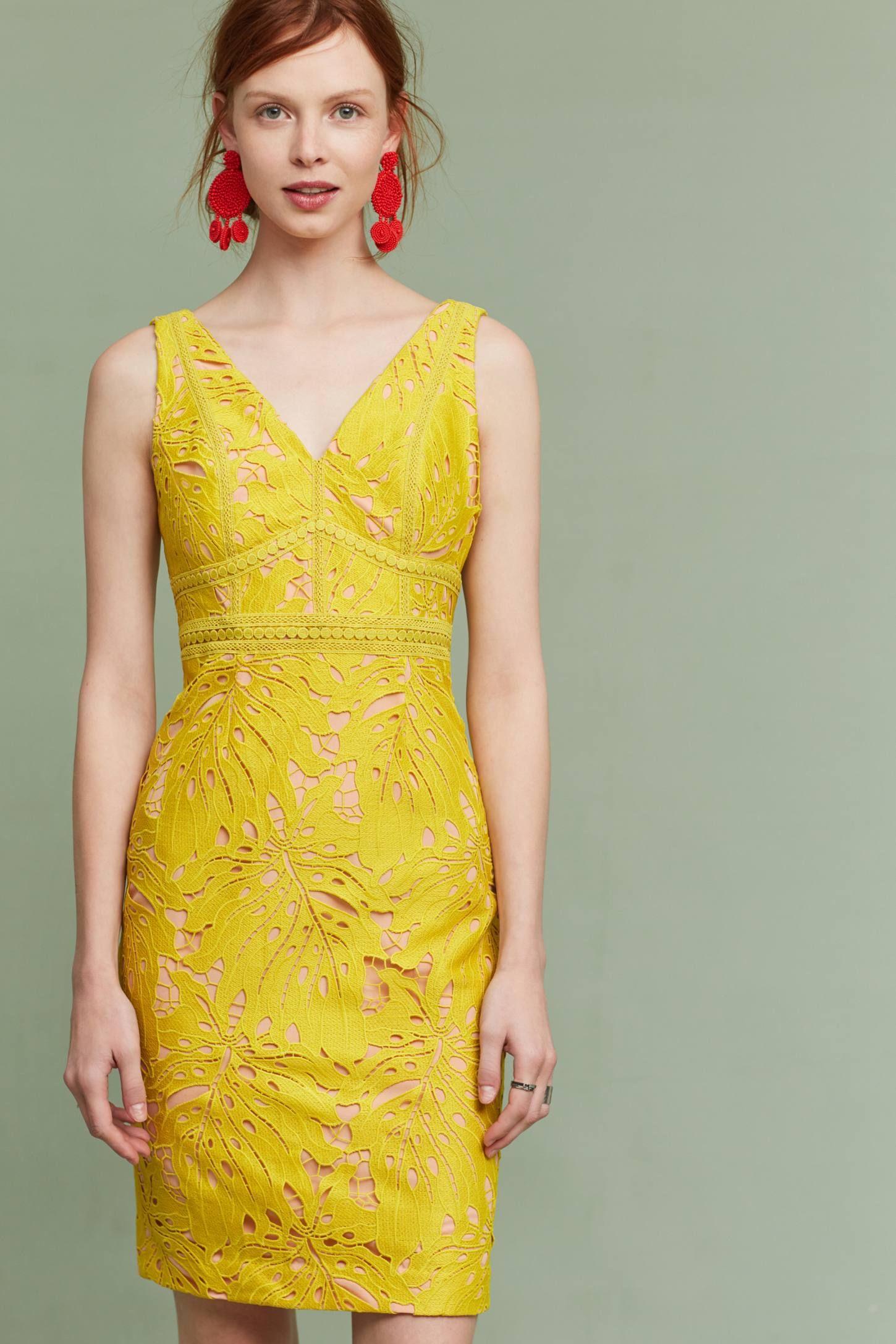 Slide view gardenia lace corset dress yellow clothes horse