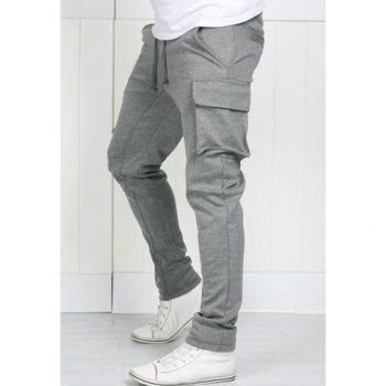 $11.45 Casual Style Classics Solid Multi-Pocketed Sports Polyester Pants For Men