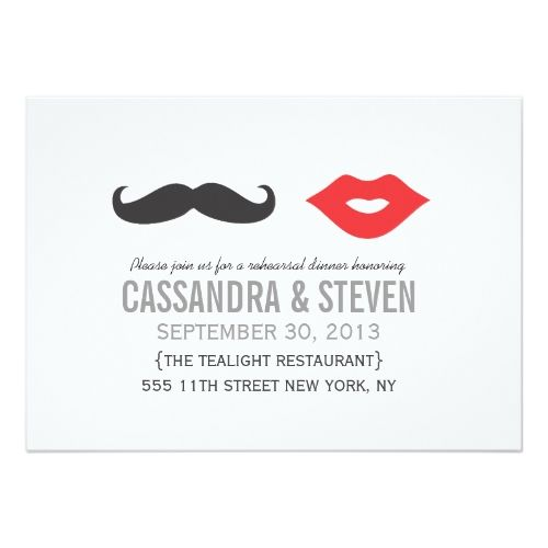 Vintage Wedding Rehearsal Dinner Mustache & Lips Wedding Rehearsal Dinner Invite