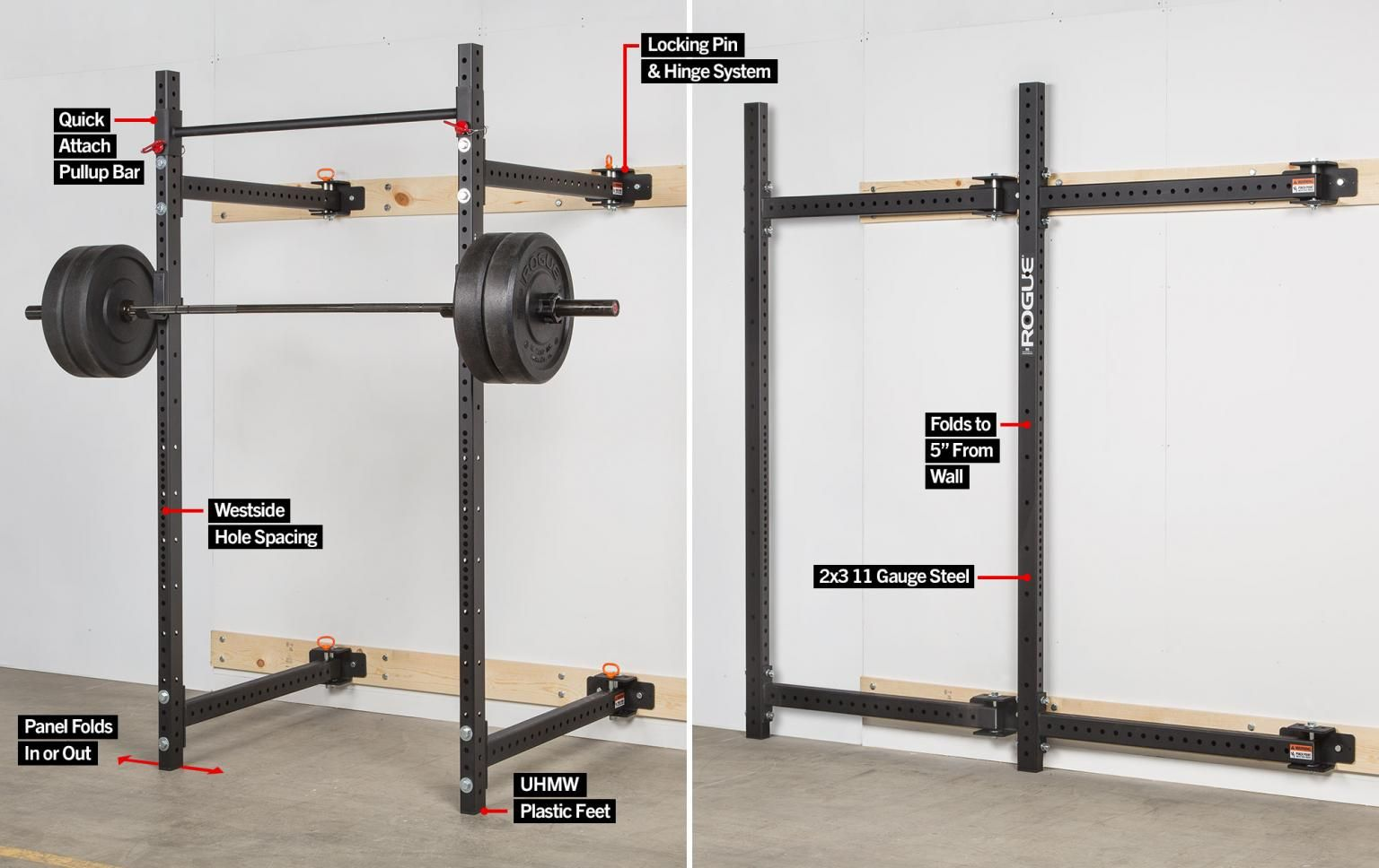 Rogue r w fold back wall mount rack home gym at