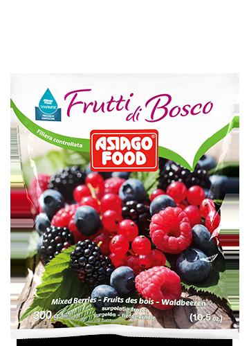 Frutti di bosco 300g - Asiago Food Questa bellissima confezione contiene un assortimento di piccoli frutti di bosco facili da usare per mille ricette. Un pieno di energia.