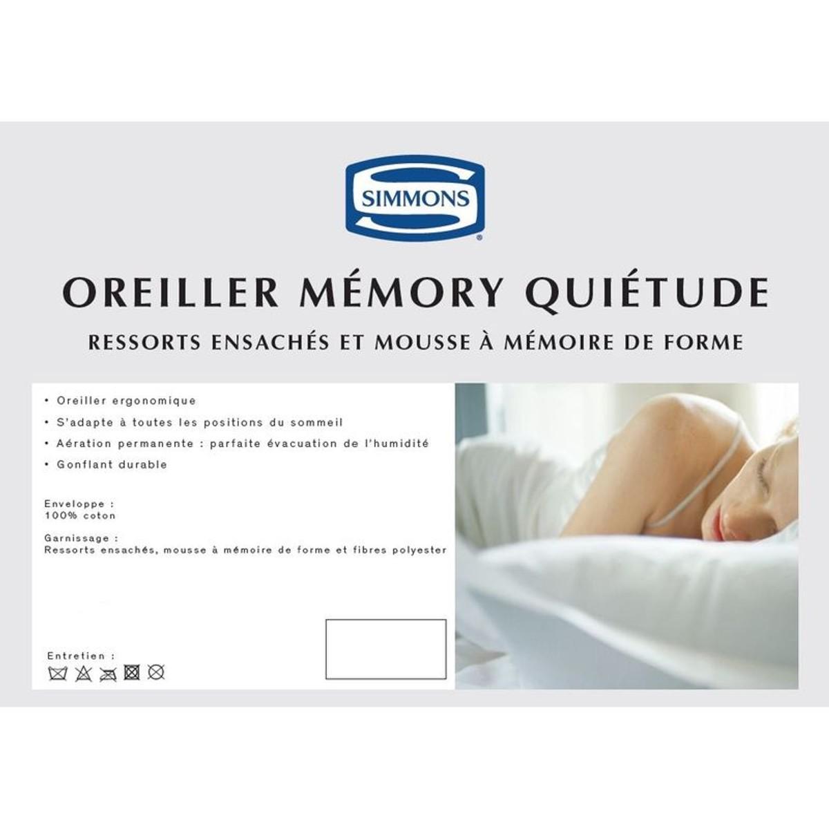 Simmons Oreiller Memory Qui/étude 40x60