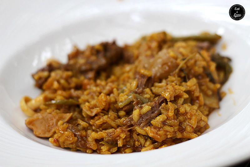 Arroz meloso de rabo de toro y setas en Que si quieres arroz Catalina - restaurante arrocería Madrid