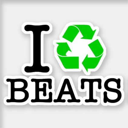 I Recycle Beats Sticker - vintage heart gifts love hearts