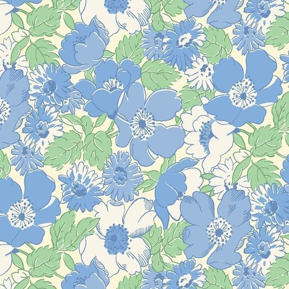 Walk In The Park~30's Fabric~blue Flowers~ by Maywood Studio Cotton #blueflowerw...#blueflowerw #cotton #fabricblue #flowers #maywood #park30s #studio #walk #blueflowerwallpaper