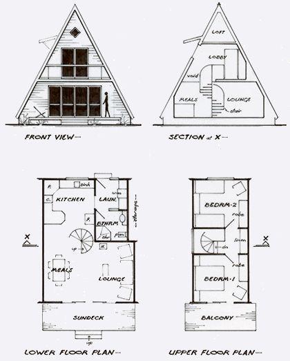 Plan For An A Frame Cottage Aframe Architektur Cottage Plan