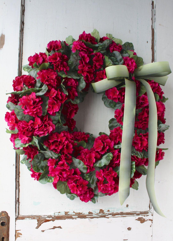 Fuchsia Geraniums   Spring Wreath   Summer Wreath   Motheru0027s Day   Easter  Door Decor