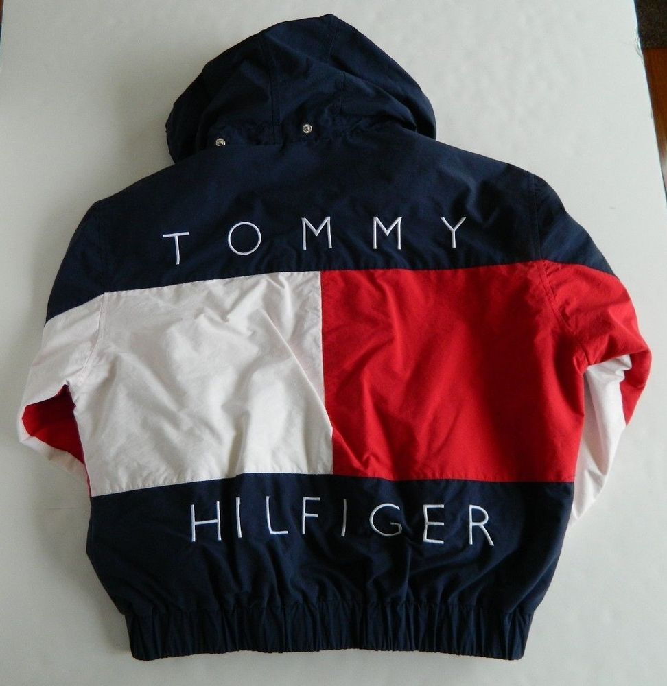 Vtg Tommy Hilfiger Reversible Hooded Jacket Coat Flag Men